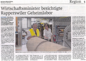 Federal Counselor Johann Schneider-Ammann visits Weidmann Fiber Technology (Article in German)